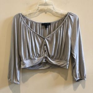 Express Cropped Gray Cardigan